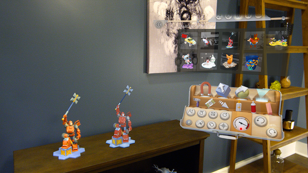 Two holographic characters on a table with the HoloStudio tool palette