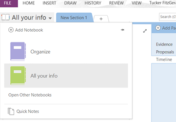 Find a section in OneNote 2013