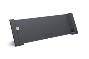 Docking Station for Surface tablets, with two USB 2.0 ports and one USB 3.0 port, HD video out, Ethernet, and audio in and out.