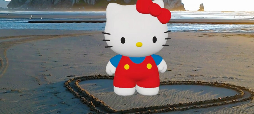 A Hello Kitty hologram is featured in a mixed reality video made with the Actiongram app on HoloLens.