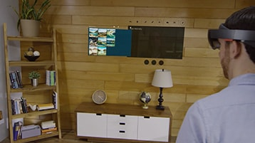 A still image of the Skype Photos video with play icon