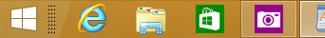Barre des tâches contenant des applications Windows Store et de bureau