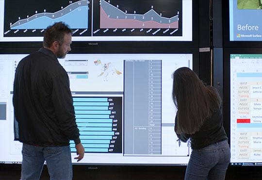 複数の Microsoft Surface Hub デバイスを使用して共に作業をしている男性と女性。