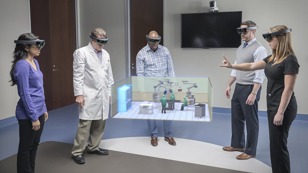 A team from Stryker uses HoloLens to design an operating room, collaborating in mixed reality