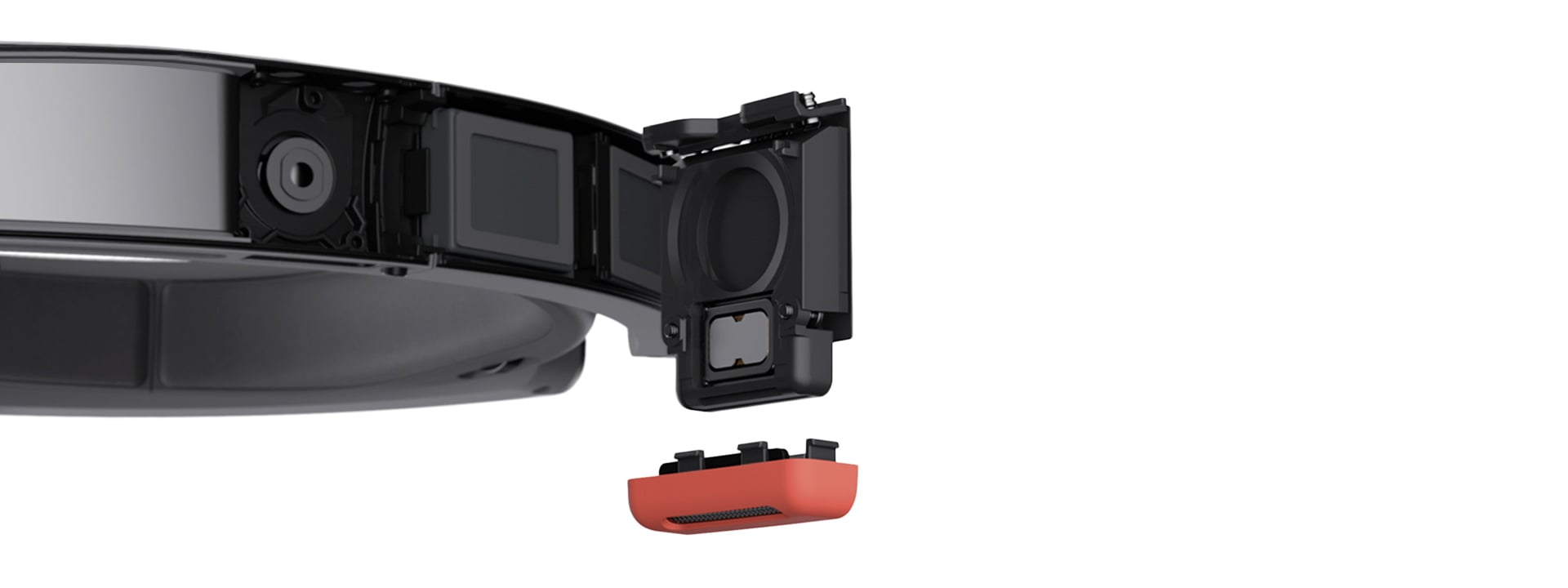 Cross-section of HoloLens speaker revealing internal components