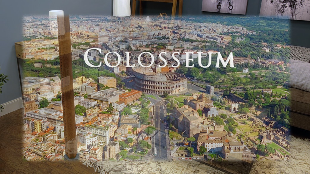 A holographic arial view of the Colosseum in Rome and surrounding city with the word Closseum overlayed