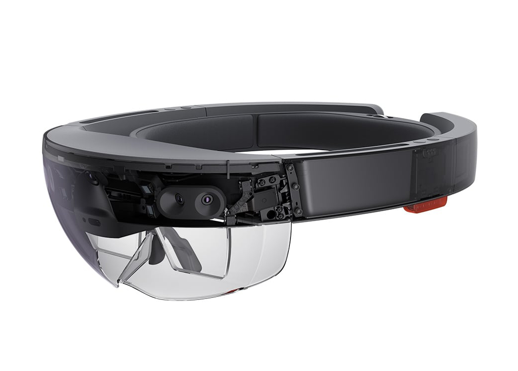 Cross-section of HoloLens from the front left, showing internal components