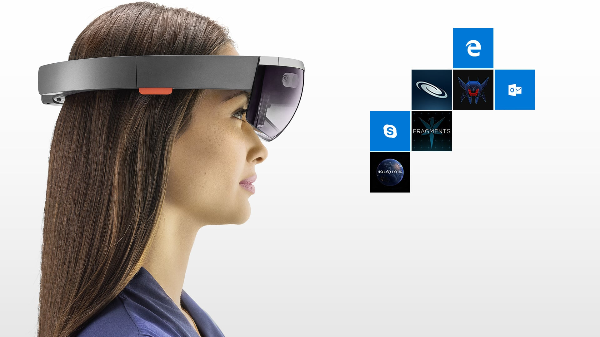Profile of woman wearing HoloLens, looking at tiles of apps for HoloLens