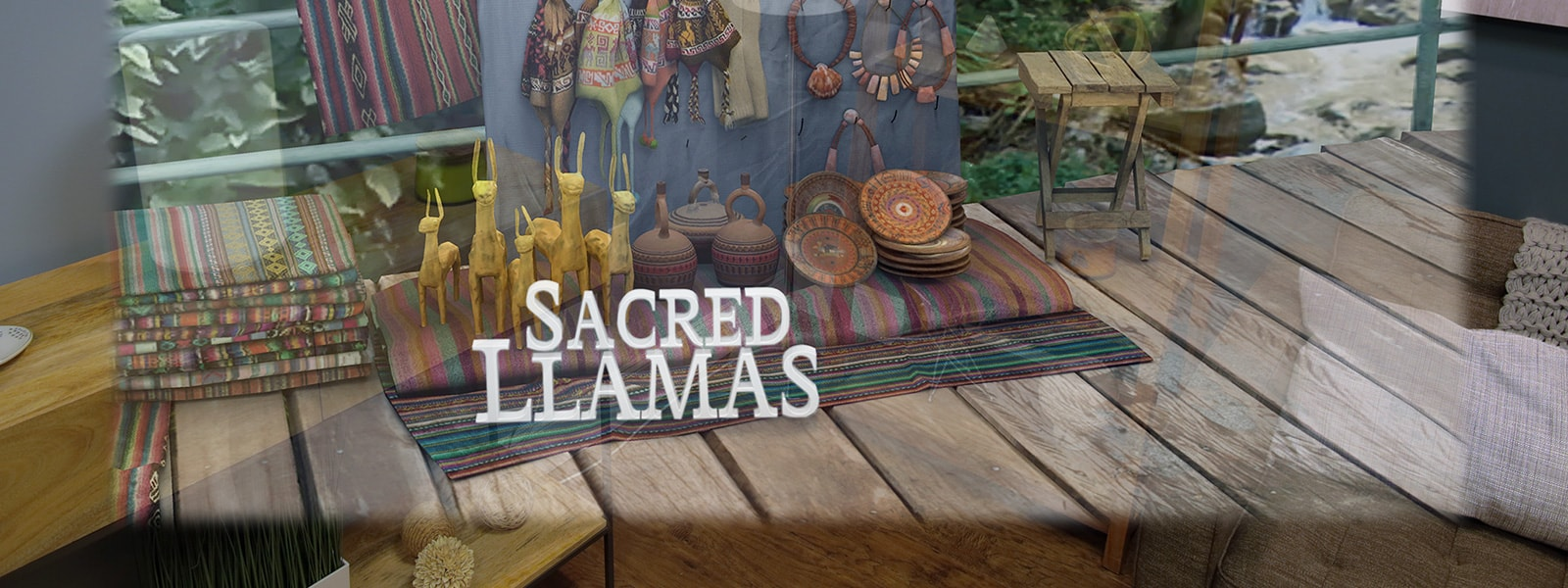 A holographic image of an supply store with Peruvian artefacts on display and the words Sacred Llamas overlayed