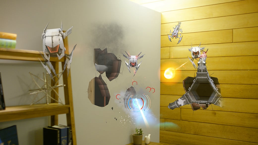 Holographic robots emerge from holes in a living room wall as seen from the first person point of view