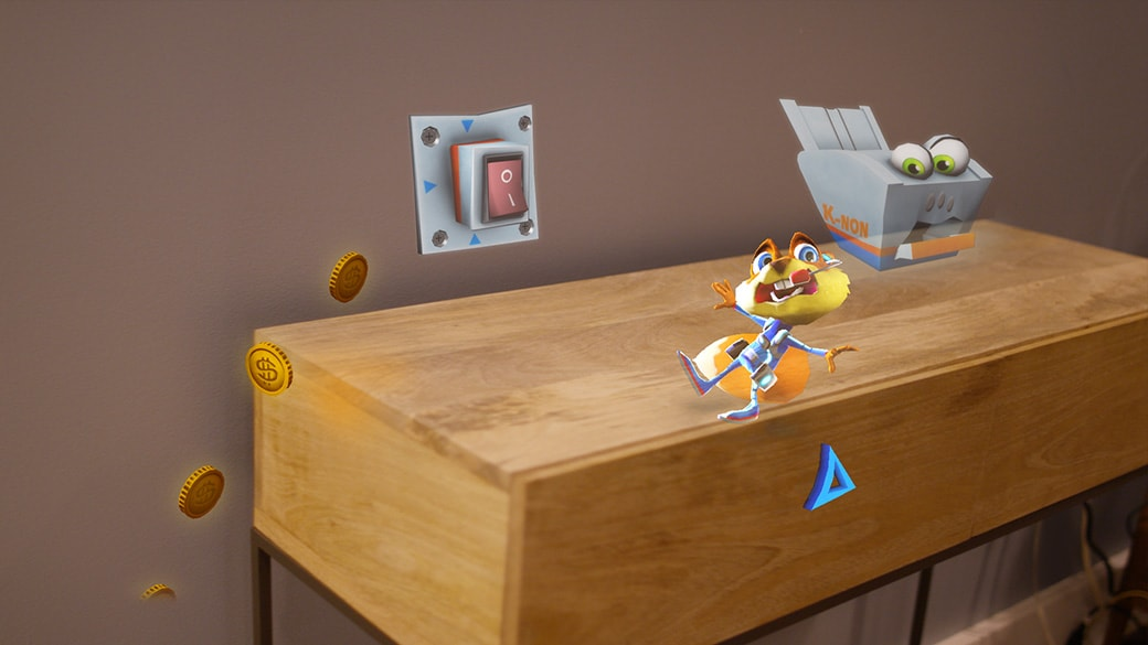 Holographic squirrel character nearly falls off of a side table while being attached by a holographic printer character with a giatn on/off switch in the background