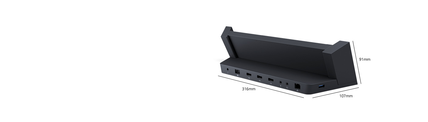 Angled rear view of Surface Docking Station, revealing USB and video-out ports.