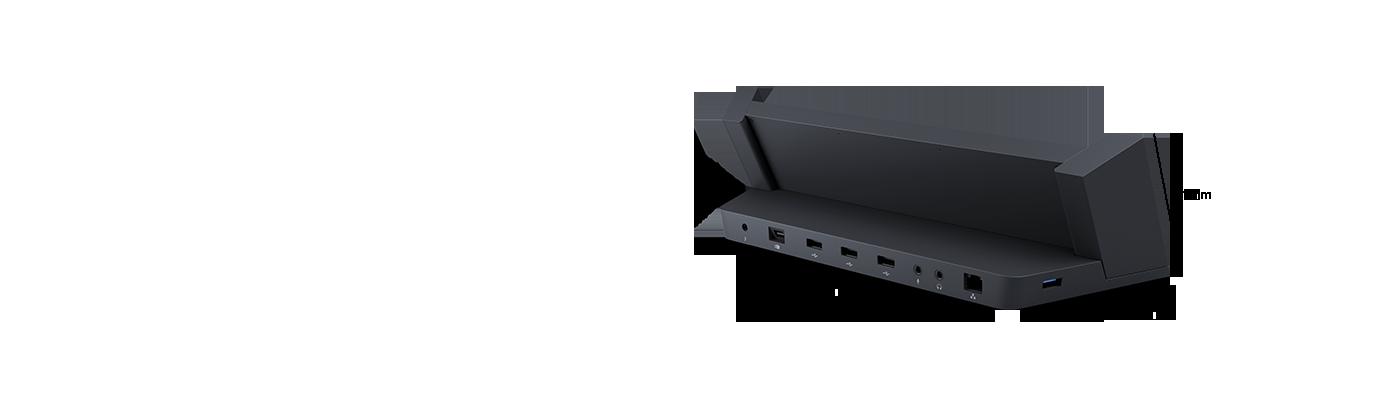 Vue arrière oblique de la station d'accueil de la tablette Surface, qui montre les ports USB et de sortie vidéo.