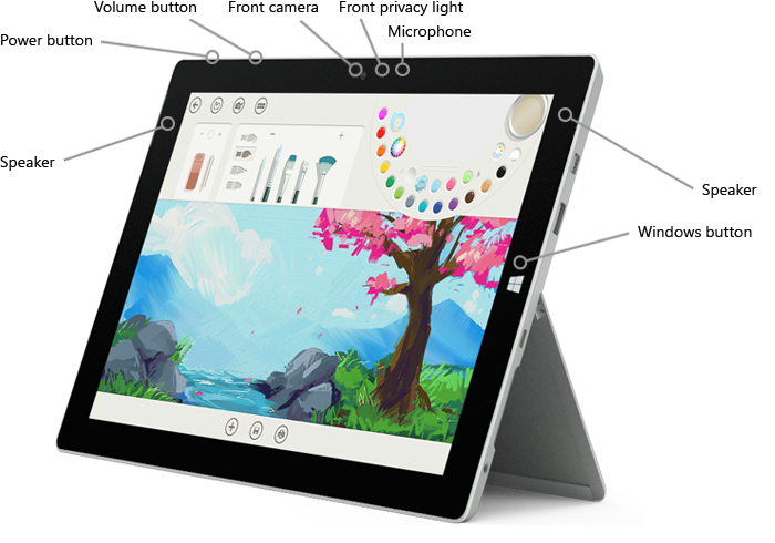 Features on the front of Surface 3