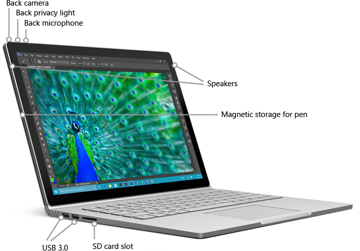 Features on back of Surface Book