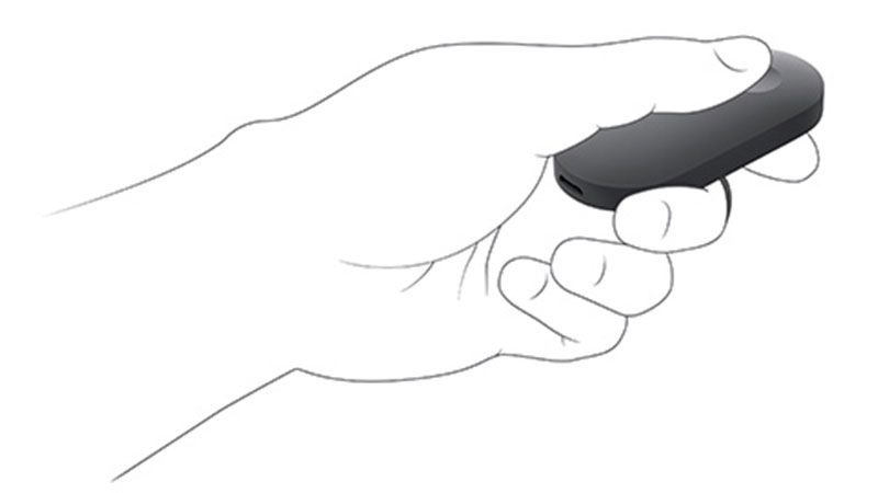 illustrated hand holding the HoloLens remote