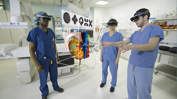 Surgeons using HoloLens inspect anatomy rendered as 3D holograms