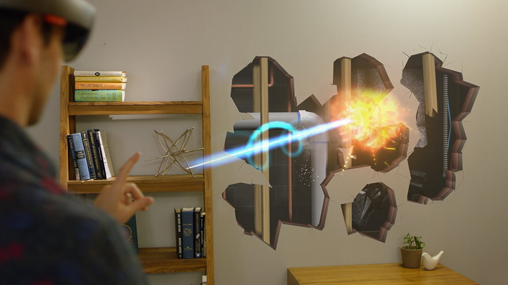 Man wearing HoloLens fires lazer blasts at his living room wall, creating holographic holes revealing structures and plumbing