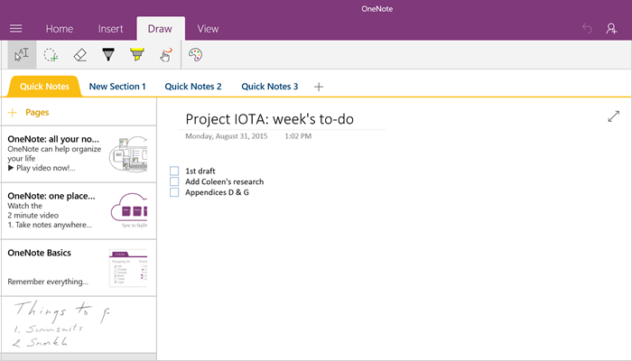 OneNote sections and pages