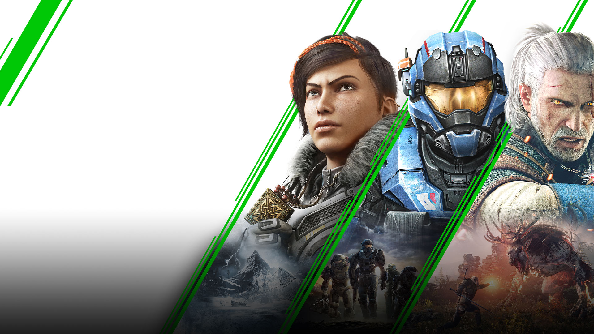Stylized green diagonal lines separating Kait Diaz, Master Chief, and The Witcher