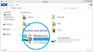 Find available free space in File Explorer