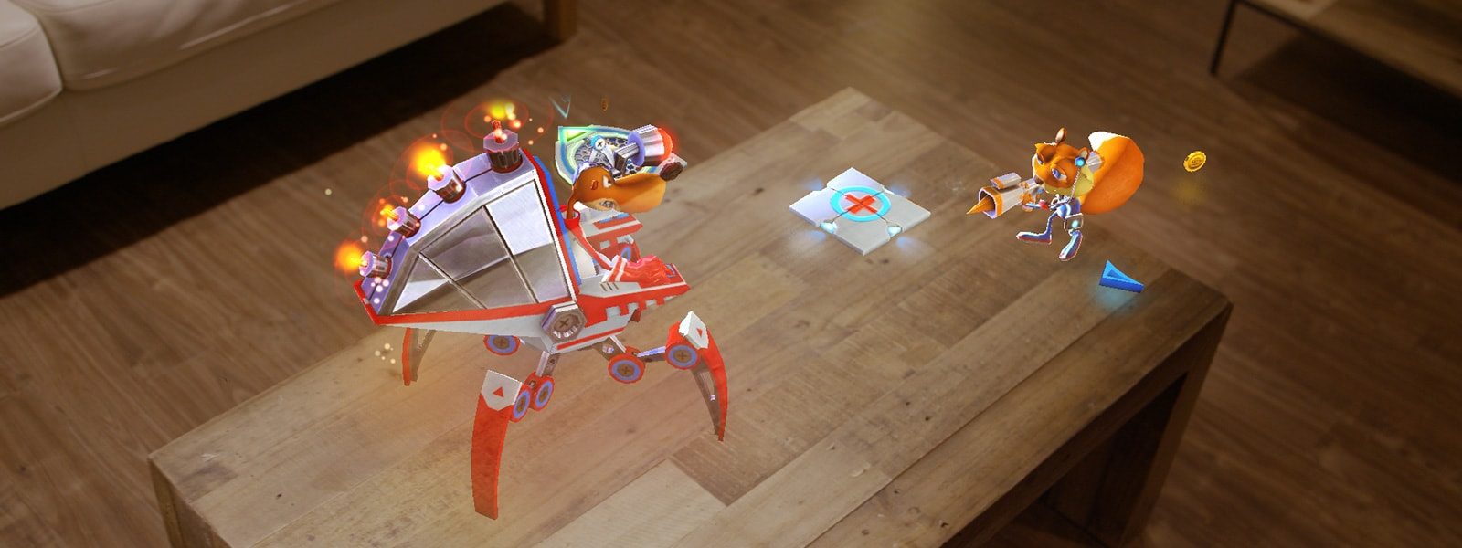 Holographic squirrel stands on a sofa table and points a gun at a holographic robotic walker vehicle which is being operated by another holographic animal character
