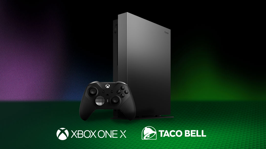 A Limited Edition Xbox One X and Xbox Elite Wireless Controller Series 2 in a green and purple space with Xbox One X and Taco Bell logos.