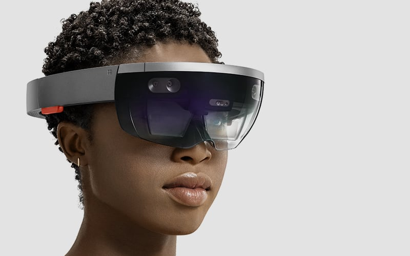 Portrait of woman wearing HoloLens