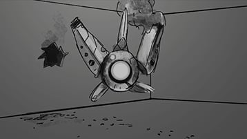A still image from the RoboRaid intro sequence animatic concept video with play icon