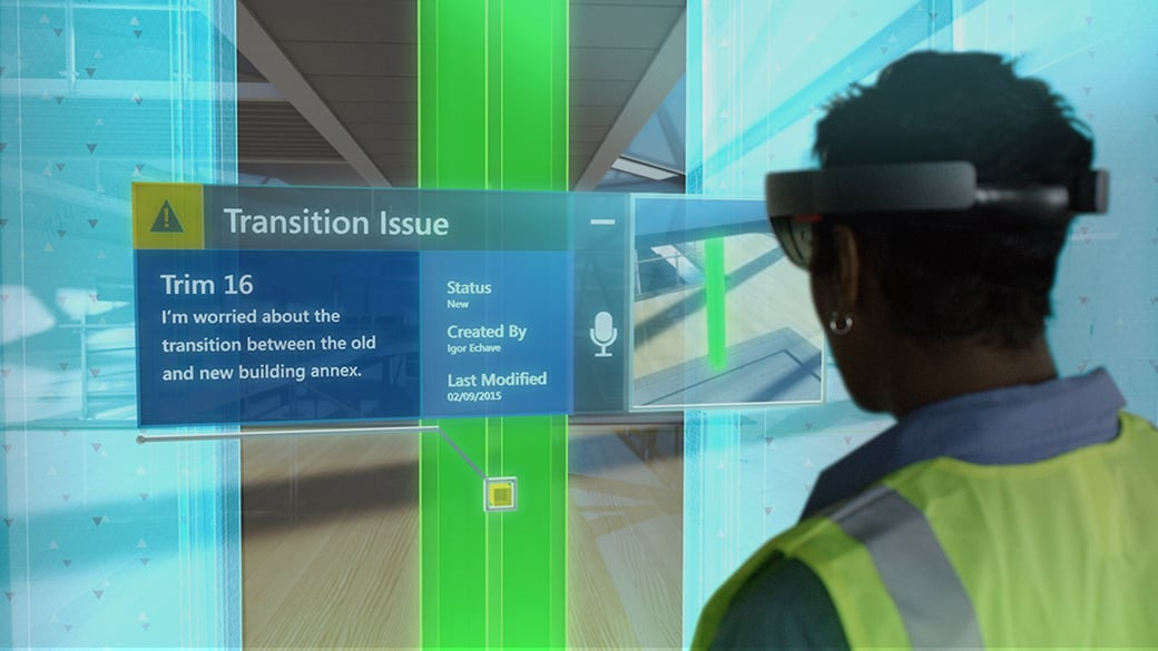 Wearing HoloLens, a construction manager can compare full-scale holographic blueprints and plans on the physical job site