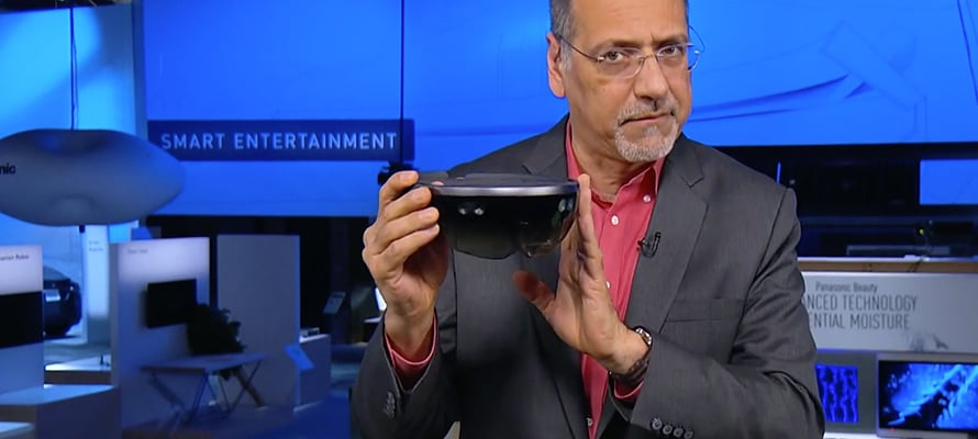 A man showing HoloLens