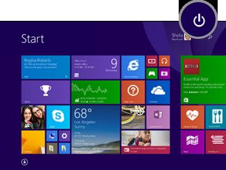 Power icon on Start screen