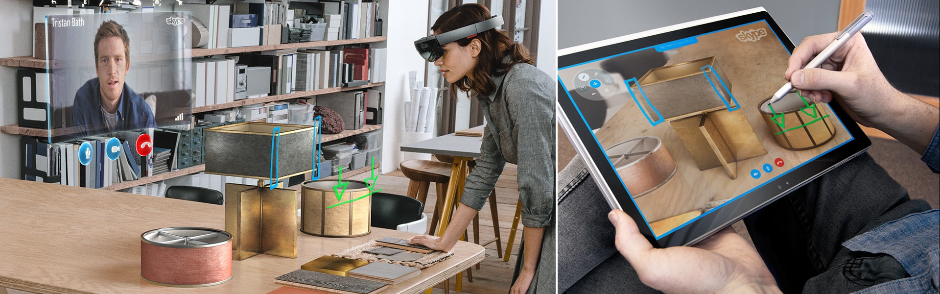 A woman wearing a HoloLens Skypes with a friend. She can see his screen sketches as holograms blended with real objects in her environment.