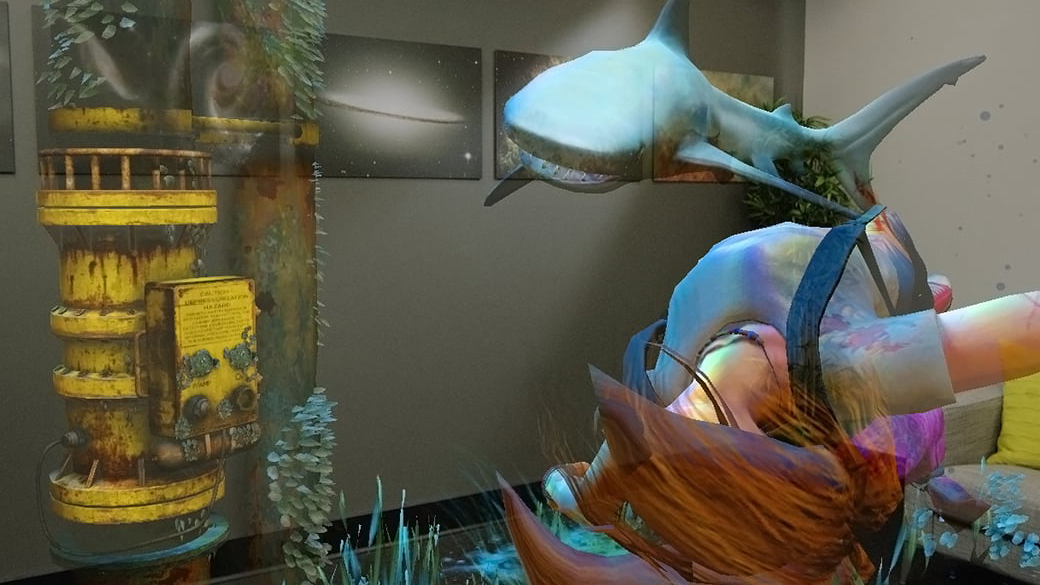 A shark looms over a submerged victim in a holographic scene in a living room