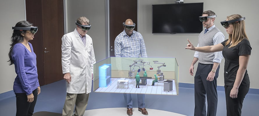 A team from Stryker uses HoloLens to design an operating room