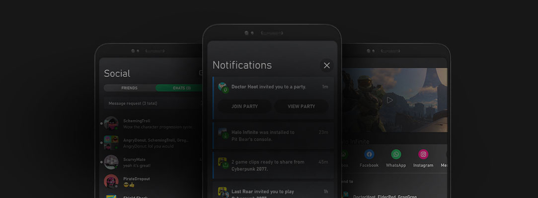 Mobile phone UI of the Xbox App