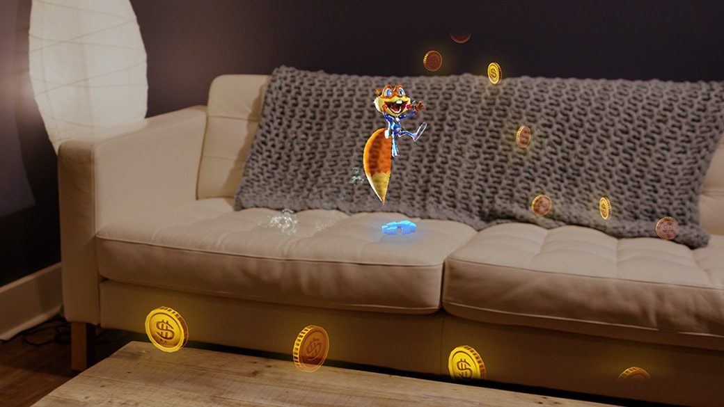 Holographic squirrel character jumps on couch while collecting holographic coins which create a trail around the room
