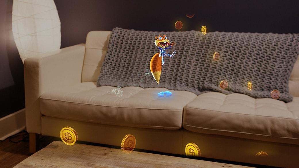 ホログラムのリスのキャラクターがソファの上でジ飛び跳ねて、部屋中がコースになるように配置されたホログラムのコインを集めていきます。