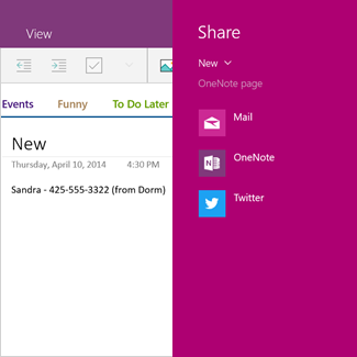 Partager une page OneNote