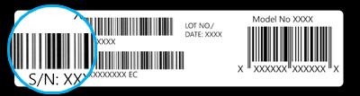Imagen del número de serie en el empaque