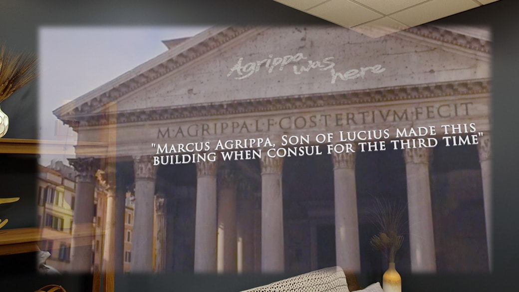 A holographic image of the Pantheon in Rome with historic narrative words overlayed